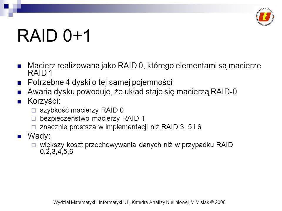 Wydział Matematyki i Informatyki UŁ, Katedra Analizy Nieliniowej, M.Misiak © 2008 RAID 0+1 Macierz realizowana jako RAID 0, którego elementami są maci