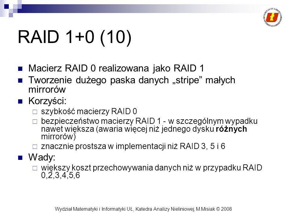 Wydział Matematyki i Informatyki UŁ, Katedra Analizy Nieliniowej, M.Misiak © 2008 RAID 1+0 (10) Macierz RAID 0 realizowana jako RAID 1 Tworzenie dużeg