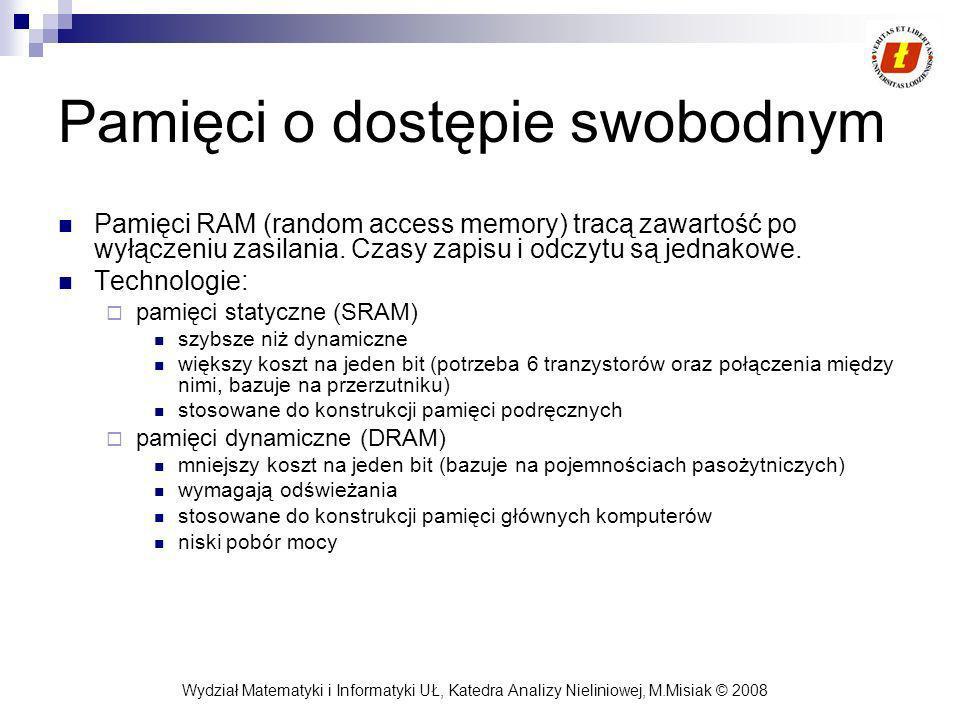 Wydział Matematyki i Informatyki UŁ, Katedra Analizy Nieliniowej, M.Misiak © 2008 Pamięci o dostępie swobodnym Pamięci RAM (random access memory) trac