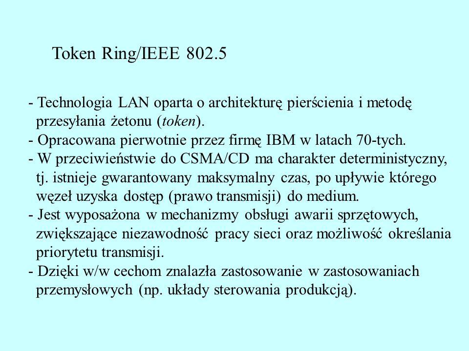 Format ramki SRB Type -Specifically routed - trasa podana przez nadawcę - All paths explorer - służy do wykrywania trasy, mosty zapisują numery ringu i mostu - Spanning-tree explorer - j.w., tylko mosty Spanning tree transmitują ramkę Length - długość pola RIF w bajtach (od 2 do 30, przeważnie do 18) D bit - wskazuje kierunek pobierania informacji o trasie z ramki (naprzód od prawej, w tył od lewej) Largest Frame - maksymalna wielkość ramki przenoszonej po danej trasie (jak MTU) Ring Number - 12-bitowy numer pierścienia (musi być unikalny w sieci) Bridge number - 4-bitowy numer mostu w (unikalny w danym pierścieniu)