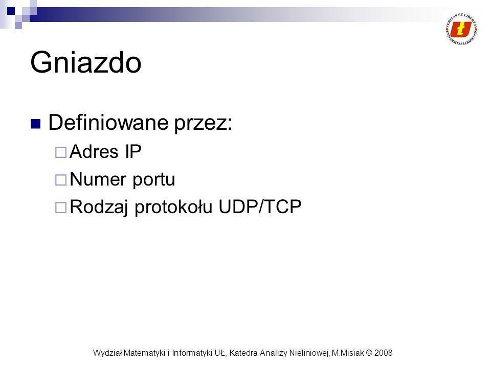 Wydział Matematyki i Informatyki UŁ, Katedra Analizy Nieliniowej, M.Misiak © 2008 Gniazdo Definiowane przez: Adres IP Numer portu Rodzaj protokołu UDP