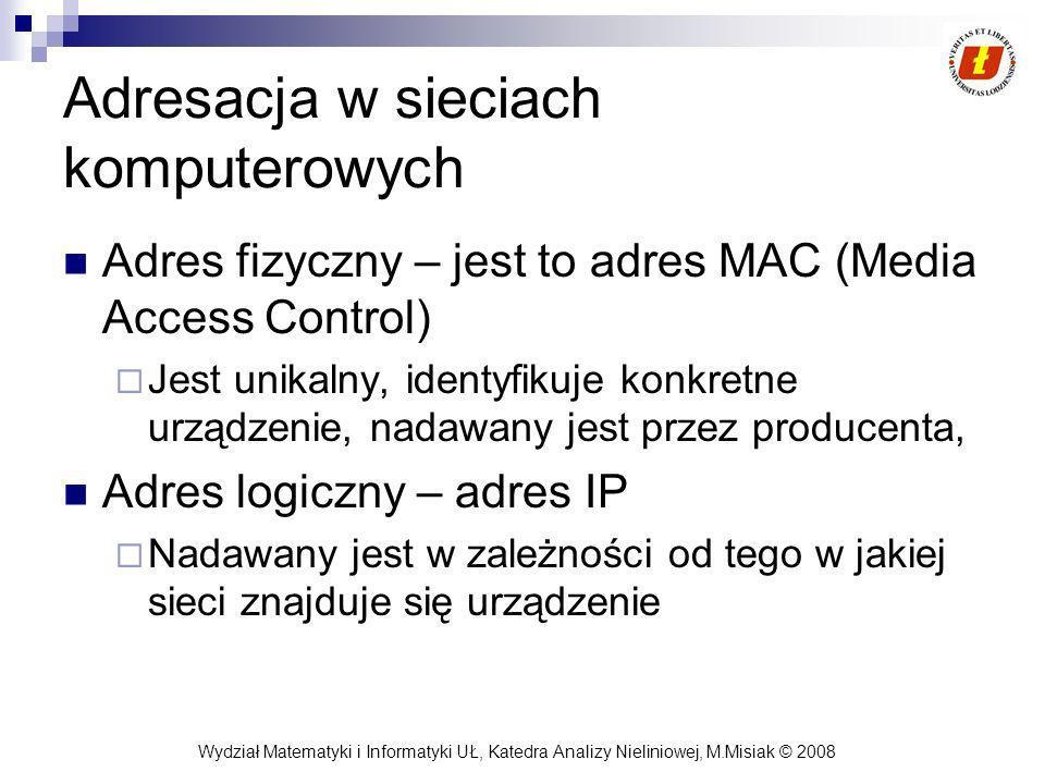 Wydział Matematyki i Informatyki UŁ, Katedra Analizy Nieliniowej, M.Misiak © 2008 Adresacja w sieciach komputerowych Adres fizyczny – jest to adres MA