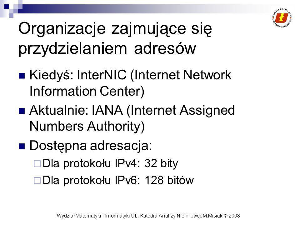 Wydział Matematyki i Informatyki UŁ, Katedra Analizy Nieliniowej, M.Misiak © 2008 Organizacje zajmujące się przydzielaniem adresów Kiedyś: InterNIC (I