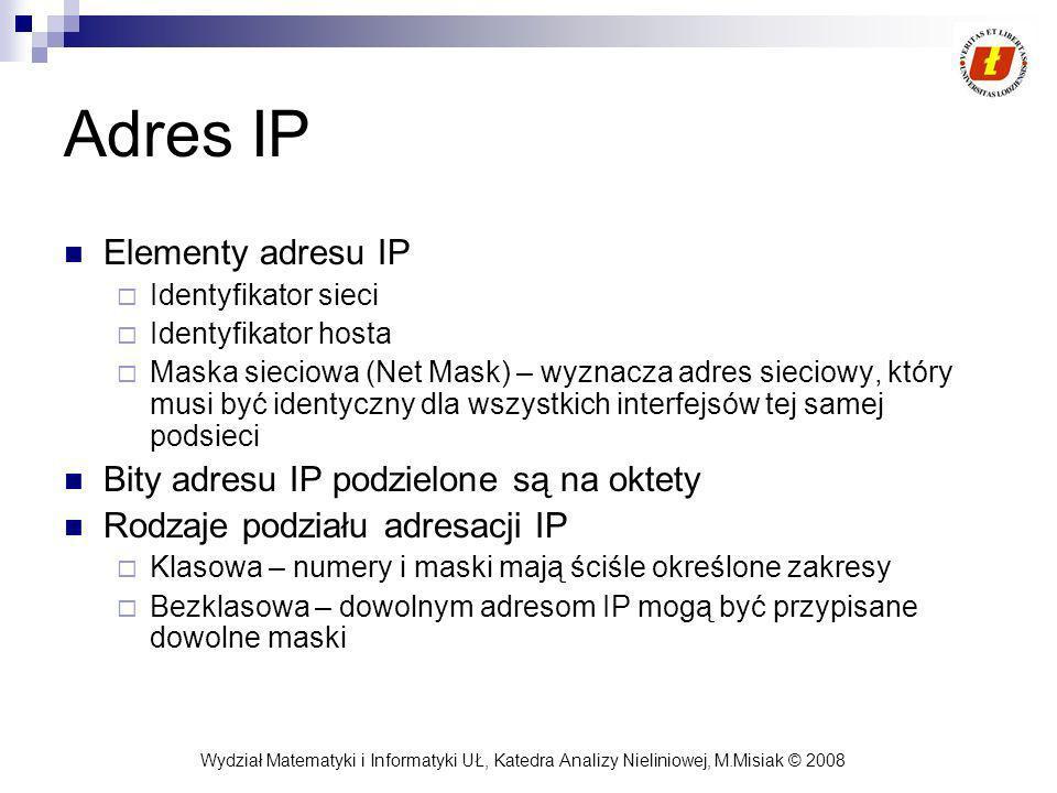 Wydział Matematyki i Informatyki UŁ, Katedra Analizy Nieliniowej, M.Misiak © 2008 Adres IP Elementy adresu IP Identyfikator sieci Identyfikator hosta