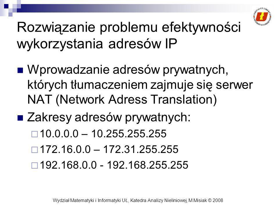 Wydział Matematyki i Informatyki UŁ, Katedra Analizy Nieliniowej, M.Misiak © 2008 Mechanizmy TCP Algorytm przesuwnego okna (sliding window) – optymalizuje problem, że nadawca oczekuje z wysłaniem kolejnych segmentów do chwili potwierdzenia wysłanych.