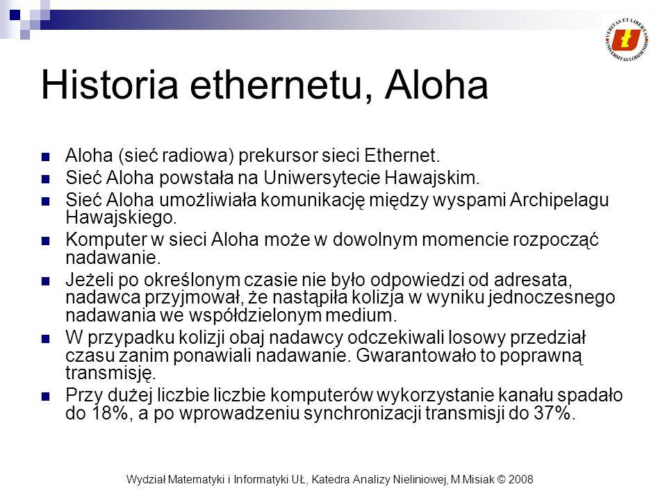 Wydział Matematyki i Informatyki UŁ, Katedra Analizy Nieliniowej, M.Misiak © 2008 Historia ethernetu, Aloha Aloha (sieć radiowa) prekursor sieci Ether