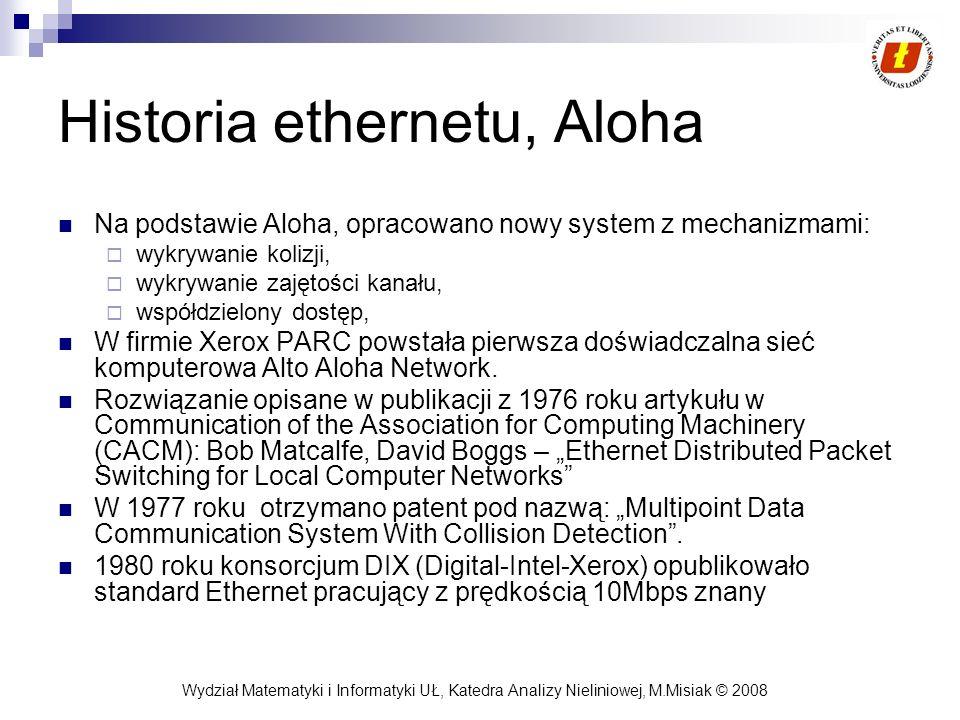 Wydział Matematyki i Informatyki UŁ, Katedra Analizy Nieliniowej, M.Misiak © 2008 Historia ethernetu, Aloha Na podstawie Aloha, opracowano nowy system