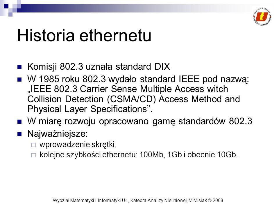 Wydział Matematyki i Informatyki UŁ, Katedra Analizy Nieliniowej, M.Misiak © 2008 Historia ethernetu Komisji 802.3 uznała standard DIX W 1985 roku 802