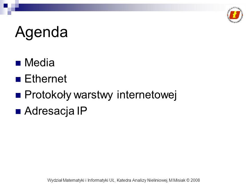 Wydział Matematyki i Informatyki UŁ, Katedra Analizy Nieliniowej, M.Misiak © 2008 Protokół MAC Określa zasady dostępu do medium Dwa rodzaje protokołu MAC: deterministyczny: np.