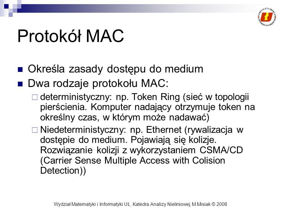 Wydział Matematyki i Informatyki UŁ, Katedra Analizy Nieliniowej, M.Misiak © 2008 Protokół MAC Określa zasady dostępu do medium Dwa rodzaje protokołu