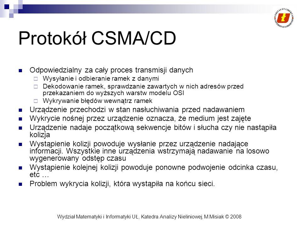 Wydział Matematyki i Informatyki UŁ, Katedra Analizy Nieliniowej, M.Misiak © 2008 Protokół CSMA/CD Odpowiedzialny za cały proces transmisji danych Wys