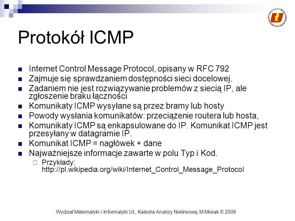 Wydział Matematyki i Informatyki UŁ, Katedra Analizy Nieliniowej, M.Misiak © 2008 Protokół ICMP Internet Control Message Protocol, opisany w RFC 792 Z