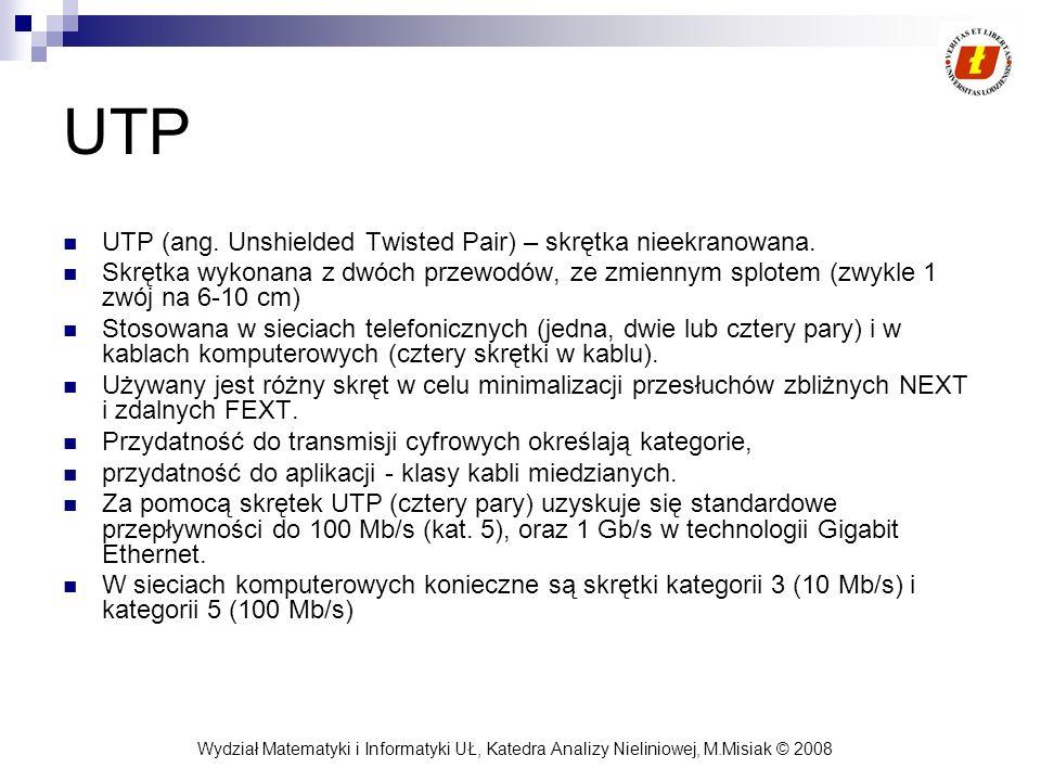 Wydział Matematyki i Informatyki UŁ, Katedra Analizy Nieliniowej, M.Misiak © 2008 UTP UTP (ang. Unshielded Twisted Pair) – skrętka nieekranowana. Skrę