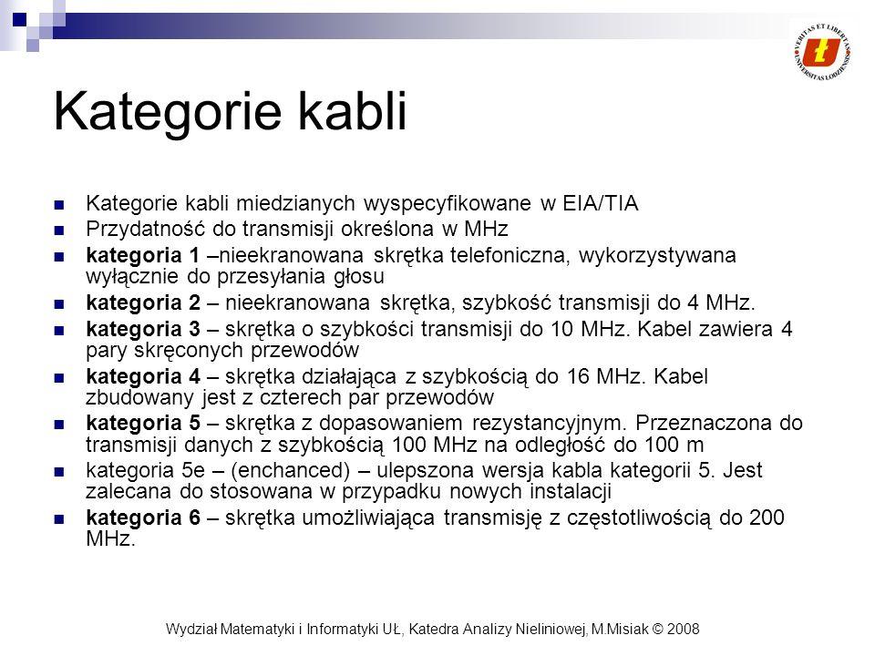 Wydział Matematyki i Informatyki UŁ, Katedra Analizy Nieliniowej, M.Misiak © 2008 Kategorie kabli Kategorie kabli miedzianych wyspecyfikowane w EIA/TI