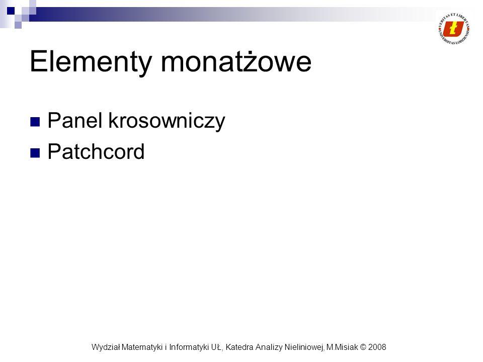 Wydział Matematyki i Informatyki UŁ, Katedra Analizy Nieliniowej, M.Misiak © 2008 Elementy monatżowe Panel krosowniczy Patchcord