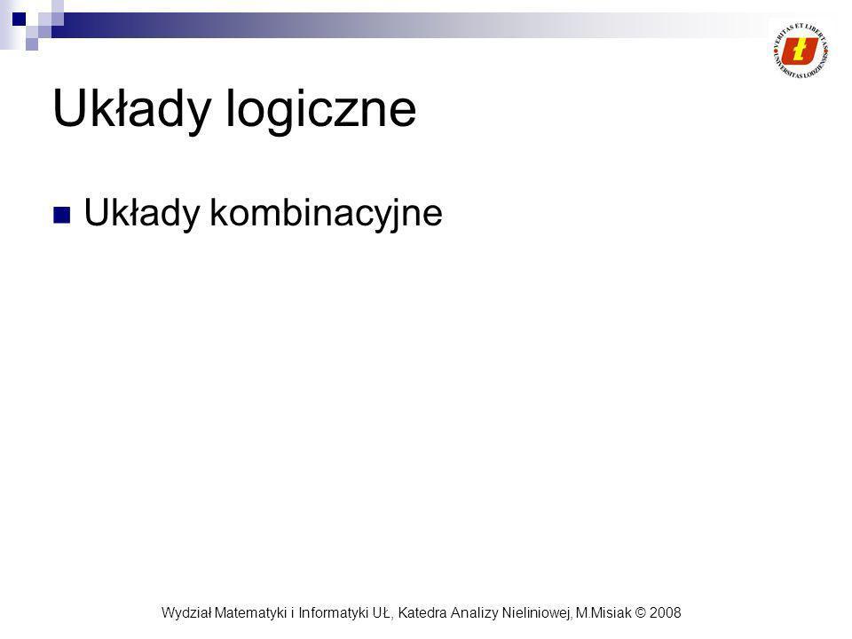 Wydział Matematyki i Informatyki UŁ, Katedra Analizy Nieliniowej, M.Misiak © 2008 Układy logiczne Układy kombinacyjne