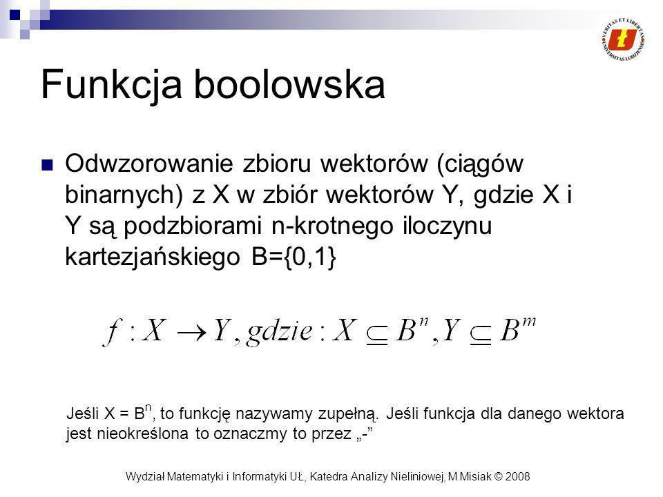 Wydział Matematyki i Informatyki UŁ, Katedra Analizy Nieliniowej, M.Misiak © 2008 Funkcja boolowska Odwzorowanie zbioru wektorów (ciągów binarnych) z X w zbiór wektorów Y, gdzie X i Y są podzbiorami n-krotnego iloczynu kartezjańskiego B={0,1} Jeśli X = B n, to funkcję nazywamy zupełną.