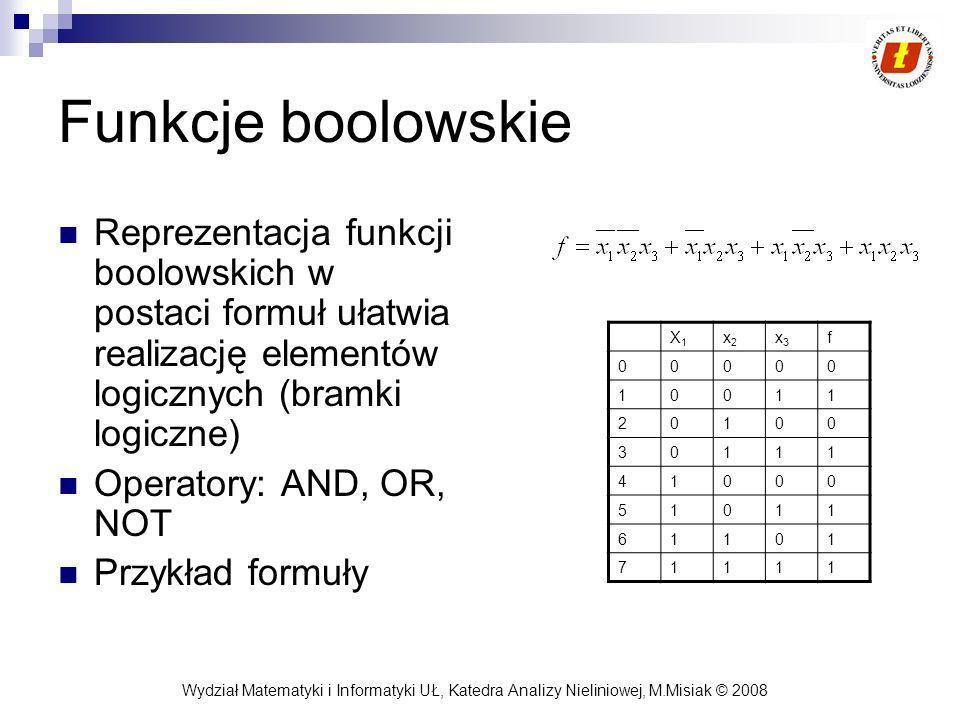 Wydział Matematyki i Informatyki UŁ, Katedra Analizy Nieliniowej, M.Misiak © 2008 Funkcje boolowskie Reprezentacja funkcji boolowskich w postaci formuł ułatwia realizację elementów logicznych (bramki logiczne) Operatory: AND, OR, NOT Przykład formuły X1X1 x2x2 x3x3 f 00000 10011 20100 30111 41000 51011 61101 71111
