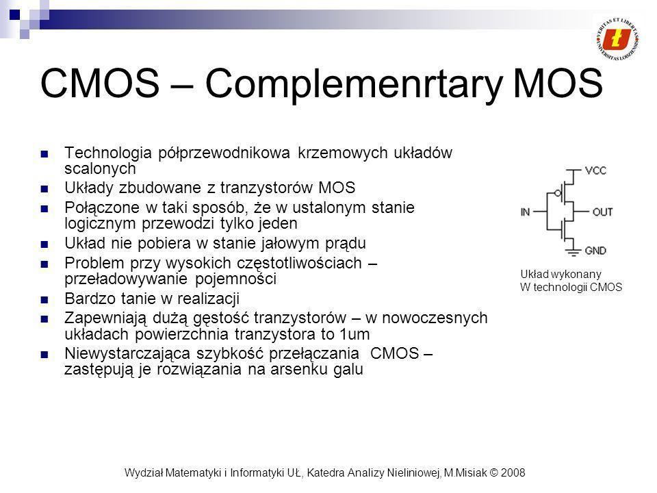 Wydział Matematyki i Informatyki UŁ, Katedra Analizy Nieliniowej, M.Misiak © 2008 Miniaturyzacja układów Minimalny wymiar charakterystyczny - głównym wyznacznikiem stopnia miniaturyzacji Minimalny wymiar charakterystyczny definiowany jest przez rozdzielczość procesu litograficznego i procesu trawienia MWC – przeważnie jest to wymiar pojedynczego tranzystora MOS W drugiej połowie 90 powszechnie przemysłową technologią była 0,35um, przy średnicy podłoża 200 nm