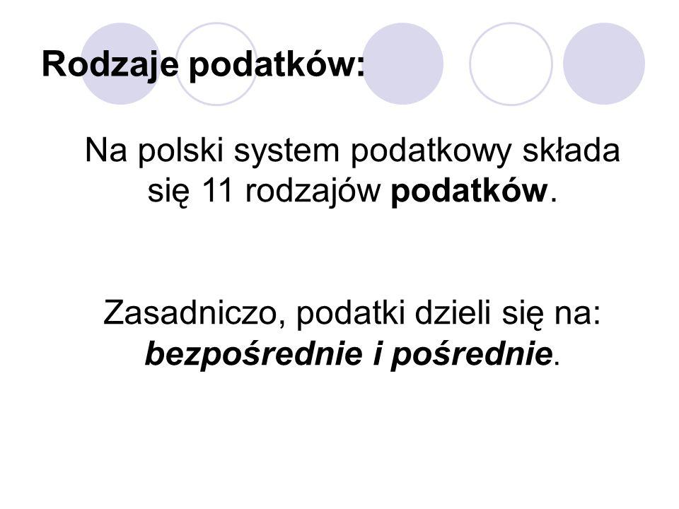 Na polski system podatkowy składa się 11 rodzajów podatków.