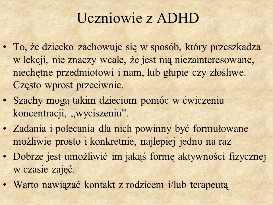 Uczniowie z ADHD To, że dziecko zachowuje się w sposób, który przeszkadza w lekcji, nie znaczy wcale, że jest nią niezainteresowane, niechętne przedmi