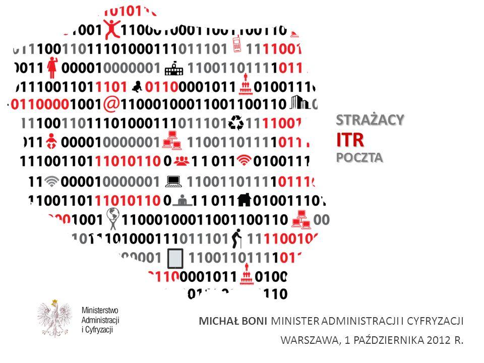 STRAŻACYITRPOCZTA MICHAŁ BONI MINISTER ADMINISTRACJI I CYFRYZACJI WARSZAWA, 1 PAŹDZIERNIKA 2012 R.