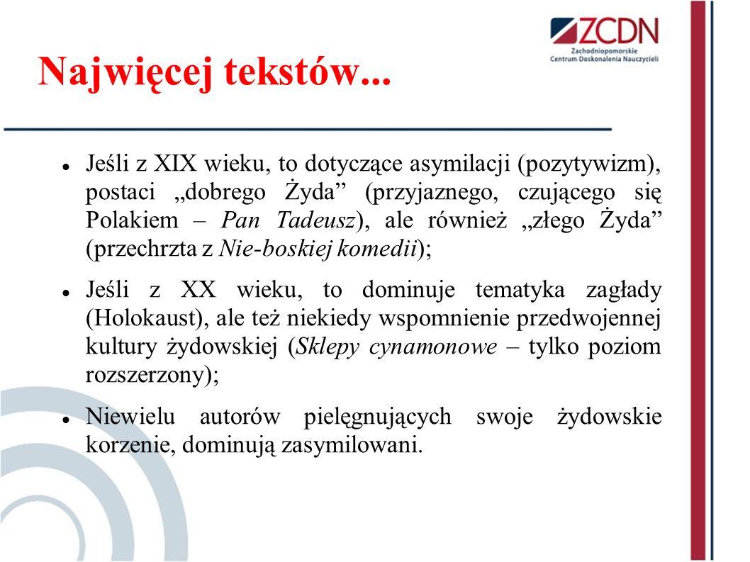 Najwięcej tekstów... Jeśli z XIX wieku, to dotyczące asymilacji (pozytywizm), postaci dobrego Żyda (przyjaznego, czującego się Polakiem – Pan Tadeusz)