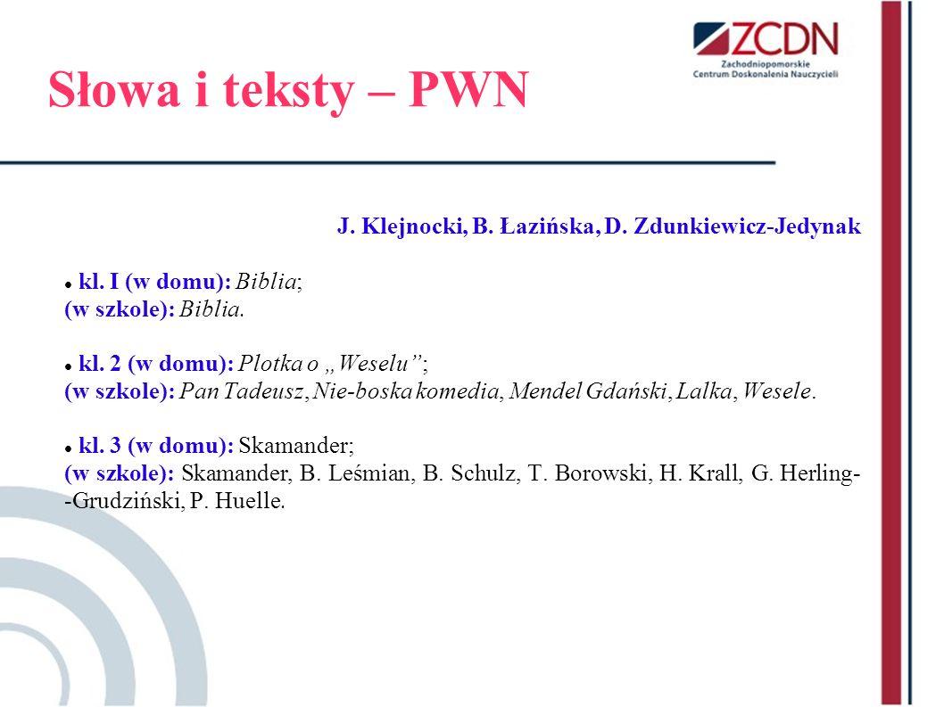 Słowa i teksty – PWN J. Klejnocki, B. Łazińska, D. Zdunkiewicz-Jedynak kl. I (w domu): Biblia; (w szkole): Biblia. kl. 2 (w domu): Plotka o Weselu; (w