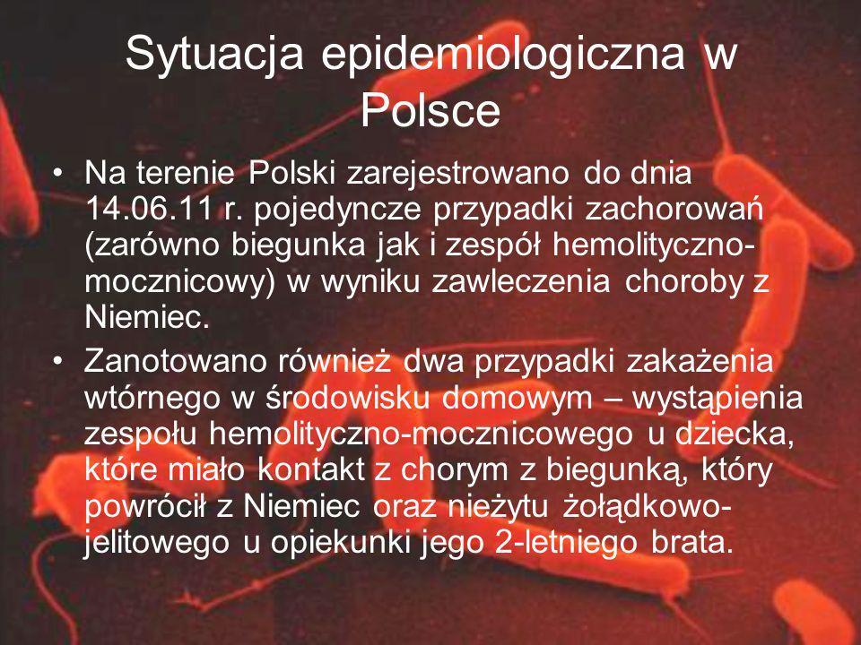Sytuacja epidemiologiczna w Polsce Na terenie Polski zarejestrowano do dnia 14.06.11 r. pojedyncze przypadki zachorowań (zarówno biegunka jak i zespół