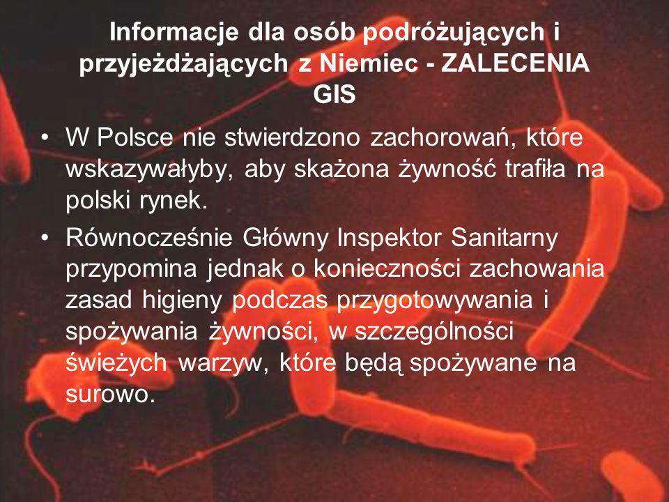 Informacje dla osób podróżujących i przyjeżdżających z Niemiec - ZALECENIA GIS W Polsce nie stwierdzono zachorowań, które wskazywałyby, aby skażona ży