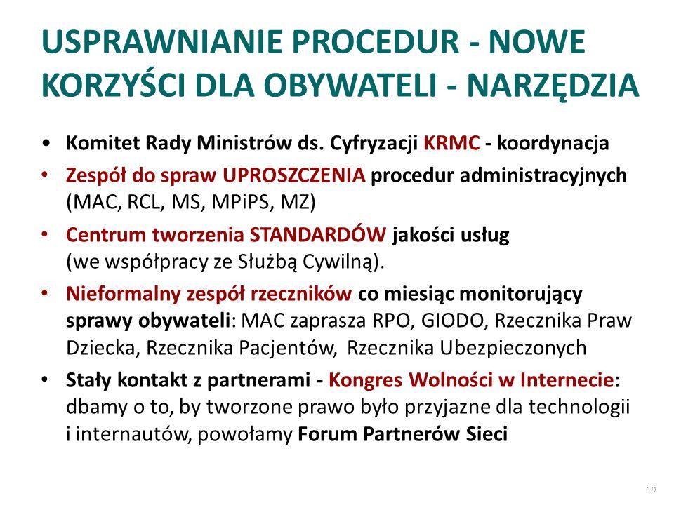 USPRAWNIANIE PROCEDUR - NOWE KORZYŚCI DLA OBYWATELI - NARZĘDZIA Komitet Rady Ministrów ds.