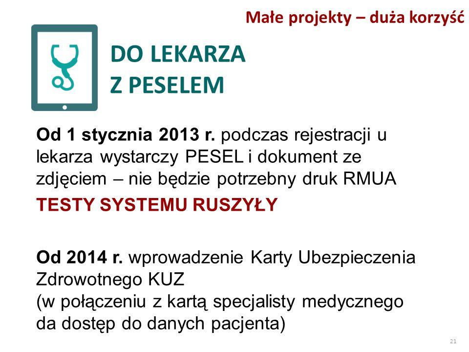 DO LEKARZA Z PESELEM Od 1 stycznia 2013 r.