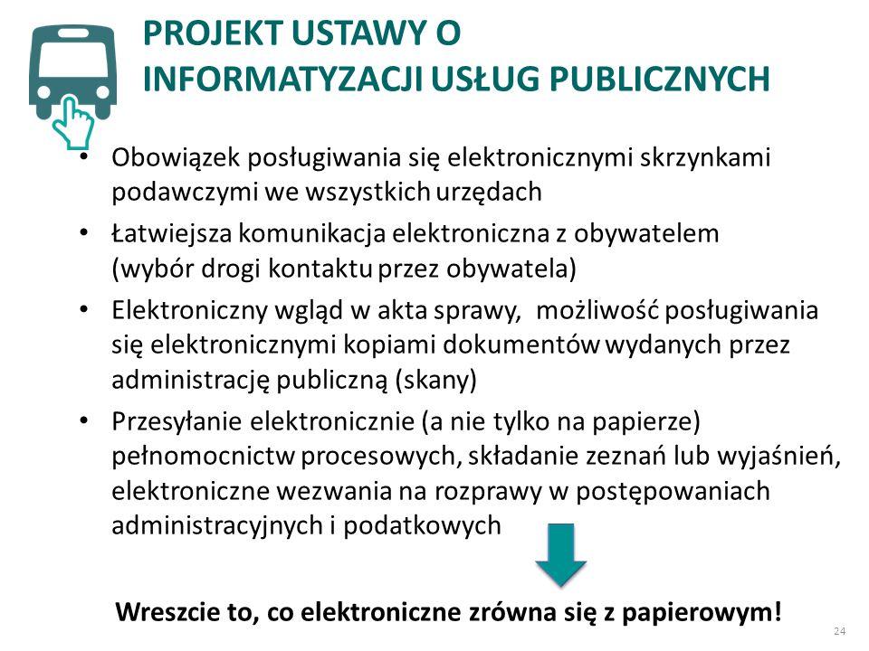 Obowiązek posługiwania się elektronicznymi skrzynkami podawczymi we wszystkich urzędach Łatwiejsza komunikacja elektroniczna z obywatelem (wybór drogi kontaktu przez obywatela) Elektroniczny wgląd w akta sprawy, możliwość posługiwania się elektronicznymi kopiami dokumentów wydanych przez administrację publiczną (skany) Przesyłanie elektronicznie (a nie tylko na papierze) pełnomocnictw procesowych, składanie zeznań lub wyjaśnień, elektroniczne wezwania na rozprawy w postępowaniach administracyjnych i podatkowych PROJEKT USTAWY O INFORMATYZACJI USŁUG PUBLICZNYCH Wreszcie to, co elektroniczne zrówna się z papierowym.