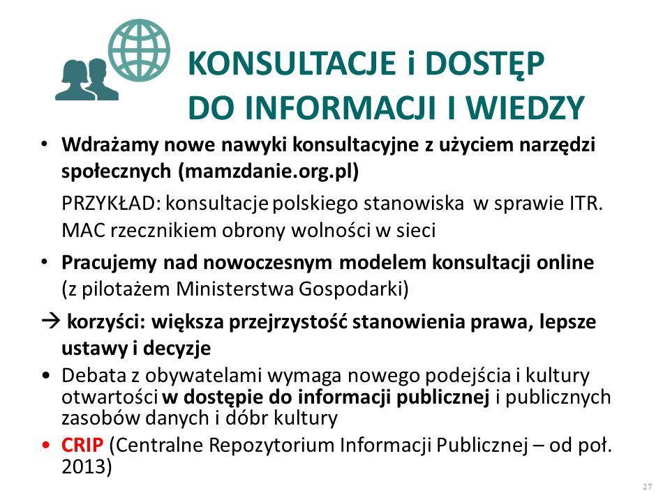KONSULTACJE i DOSTĘP DO INFORMACJI I WIEDZY Wdrażamy nowe nawyki konsultacyjne z użyciem narzędzi społecznych (mamzdanie.org.pl) PRZYKŁAD: konsultacje polskiego stanowiska w sprawie ITR.