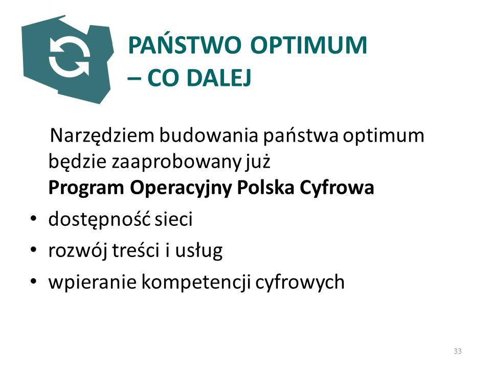 PAŃSTWO OPTIMUM – CO DALEJ Narzędziem budowania państwa optimum będzie zaaprobowany już Program Operacyjny Polska Cyfrowa dostępność sieci rozwój treści i usług wpieranie kompetencji cyfrowych 33