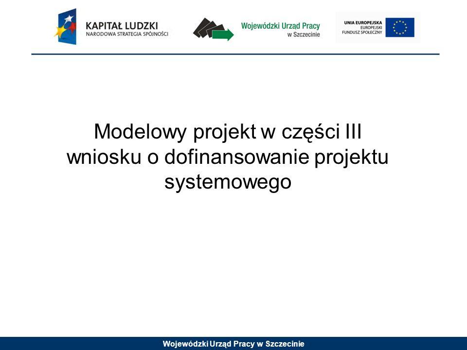Wojewódzki Urząd Pracy w Szczecinie Modelowy projekt w części III wniosku o dofinansowanie projektu systemowego