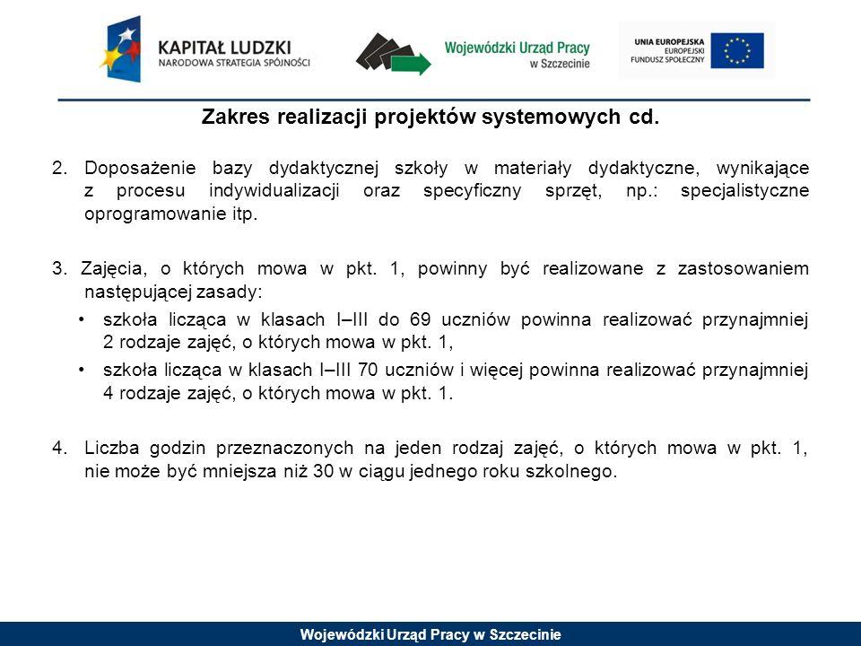 Wojewódzki Urząd Pracy w Szczecinie Grupa docelowa w projektach systemowych 1.