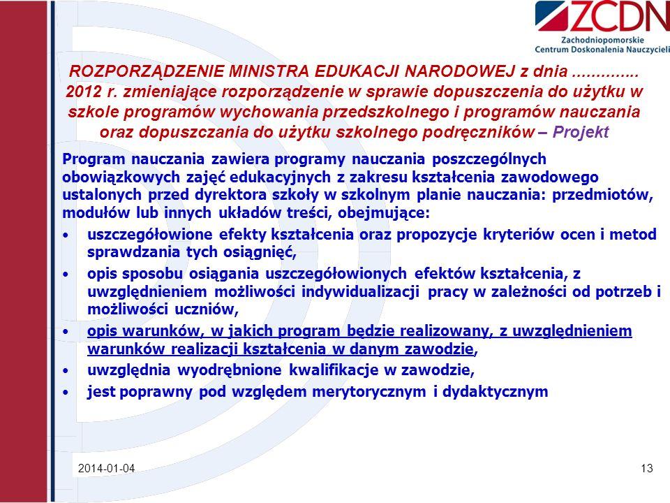 ROZPORZĄDZENIE MINISTRA EDUKACJI NARODOWEJ z dnia.............. 2012 r. zmieniające rozporządzenie w sprawie dopuszczenia do użytku w szkole programów