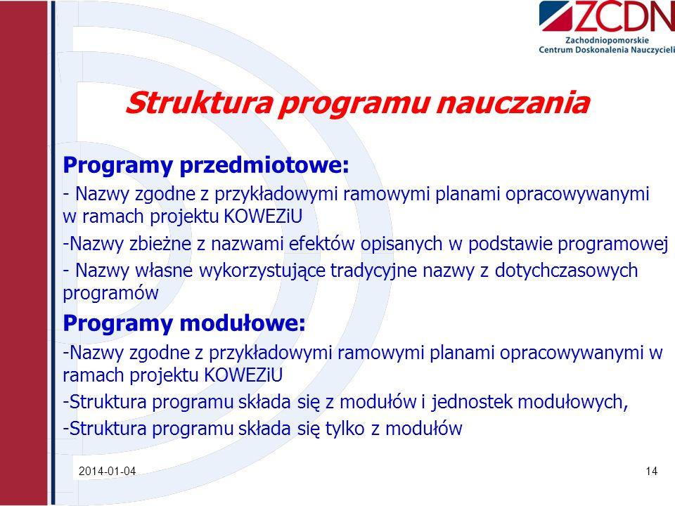 Struktura programu nauczania Programy przedmiotowe: - Nazwy zgodne z przykładowymi ramowymi planami opracowywanymi w ramach projektu KOWEZiU -Nazwy zb