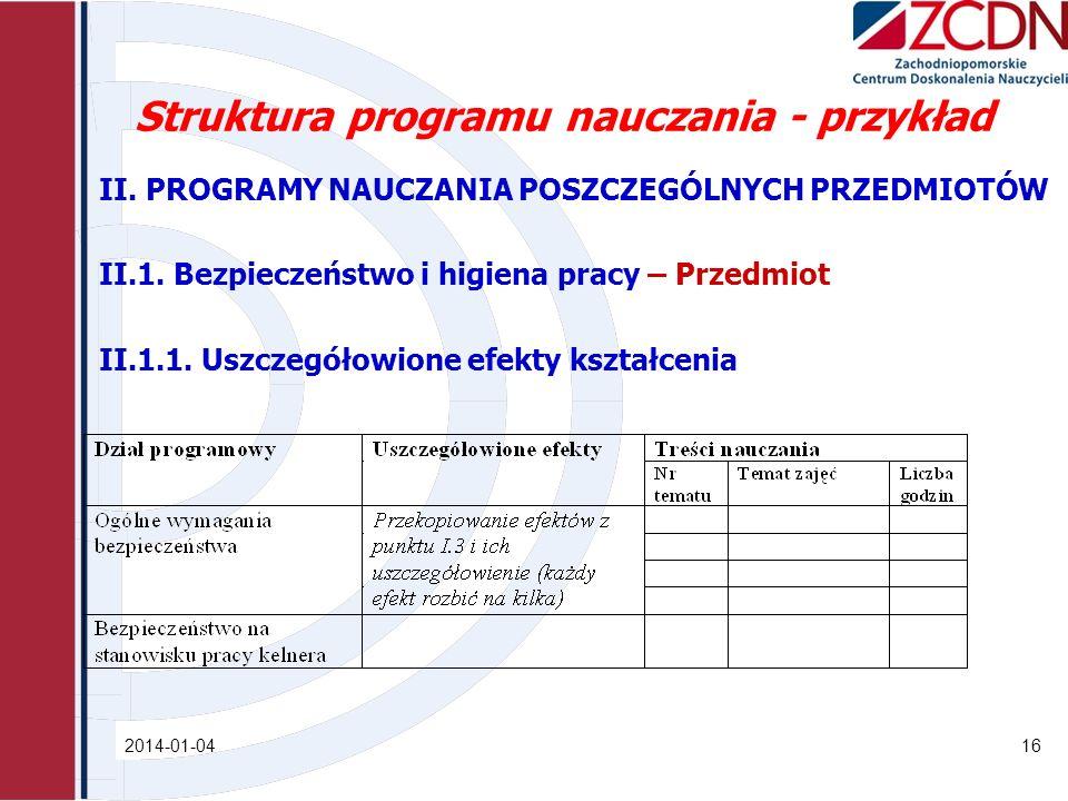 Struktura programu nauczania - przykład II. PROGRAMY NAUCZANIA POSZCZEGÓLNYCH PRZEDMIOTÓW II.1. Bezpieczeństwo i higiena pracy – Przedmiot II.1.1. Usz