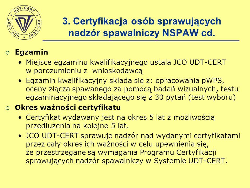 Egzamin Miejsce egzaminu kwalifikacyjnego ustala JCO UDT-CERT w porozumieniu z wnioskodawcą Egzamin kwalifikacyjny składa się z: opracowania pWPS, oce