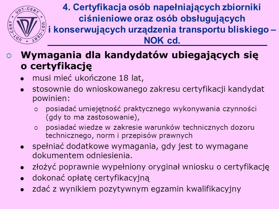 4. Certyfikacja osób napełniających zbiorniki ciśnieniowe oraz osób obsługujących i konserwujących urządzenia transportu bliskiego – NOK cd. Wymagania