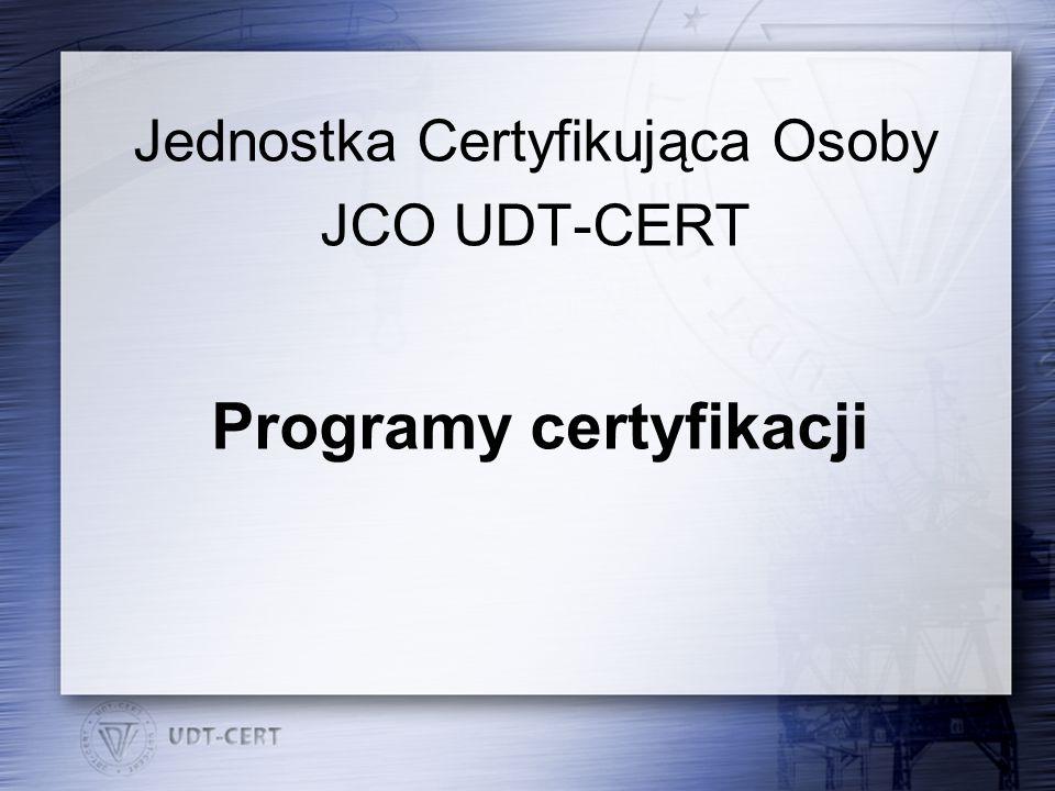 Programy certyfikacji Jednostka Certyfikująca Osoby JCO UDT-CERT