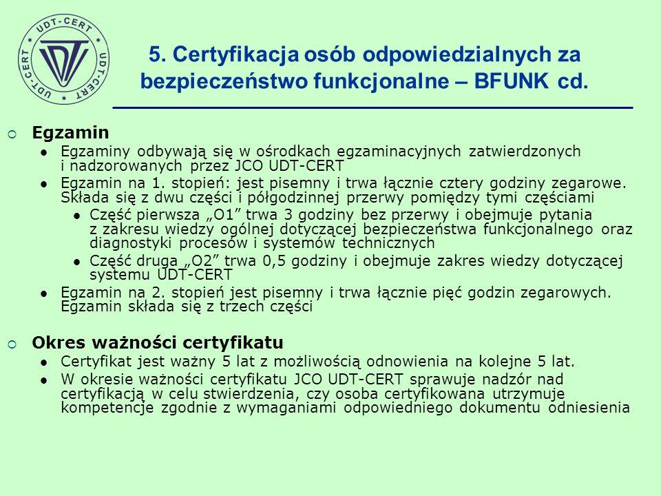 Egzamin Egzaminy odbywają się w ośrodkach egzaminacyjnych zatwierdzonych i nadzorowanych przez JCO UDT-CERT Egzamin na 1. stopień: jest pisemny i trwa