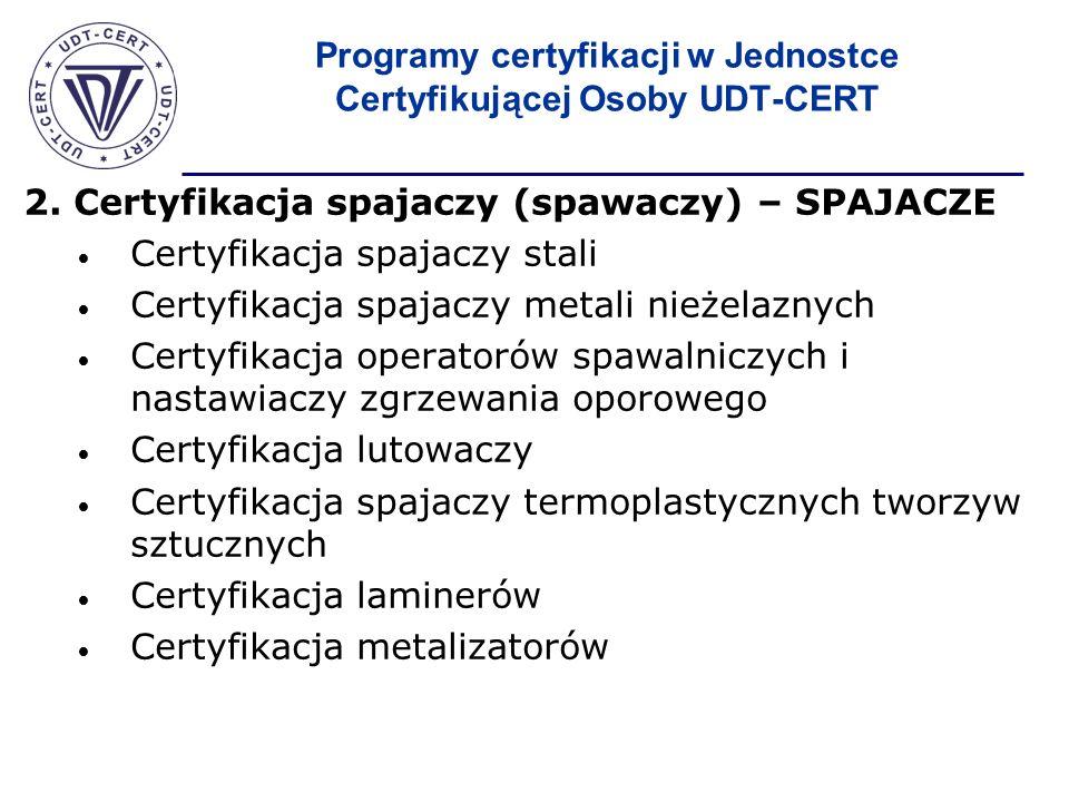 Programy certyfikacji w Jednostce Certyfikującej Osoby UDT-CERT 2. Certyfikacja spajaczy (spawaczy) – SPAJACZE Certyfikacja spajaczy stali Certyfikacj