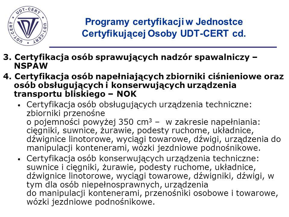 Programy certyfikacji w Jednostce Certyfikującej Osoby UDT-CERT cd. 3. Certyfikacja osób sprawujących nadzór spawalniczy – NSPAW 4. Certyfikacja osób