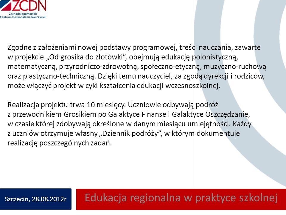 Zgodne z założeniami nowej podstawy programowej, treści nauczania, zawarte w projekcie Od grosika do złotówki, obejmują edukację polonistyczną, matematyczną, przyrodniczo-zdrowotną, społeczno-etyczną, muzyczno-ruchową oraz plastyczno-techniczną.