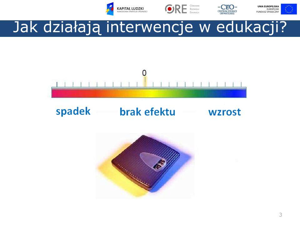 0,4 średni rozmiar efektu 1,0 bardzo duży wzrost 4 Jak działają interwencje w edukacji?