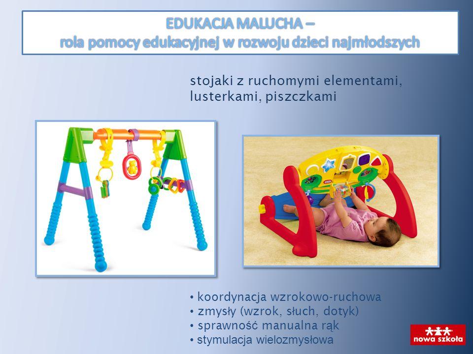 stojaki z ruchomymi elementami, lusterkami, piszczkami koordynacja wzrokowo-ruchowa zmys ł y (wzrok, s ł uch, dotyk) sprawno ść manualna r ą k stymula