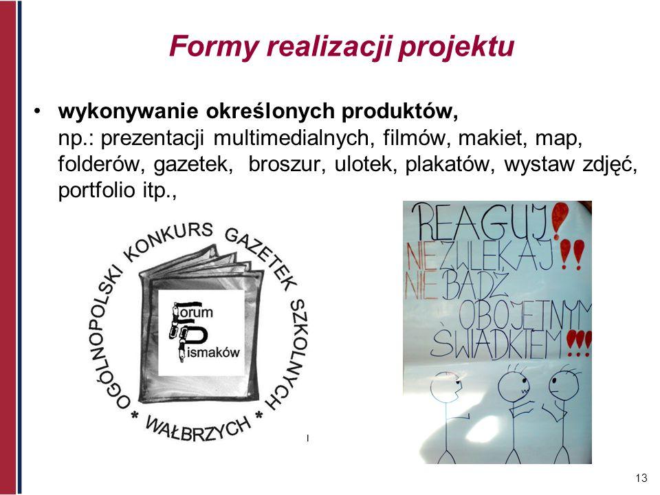 13 Formy realizacji projektu wykonywanie określonych produktów, np.: prezentacji multimedialnych, filmów, makiet, map, folderów, gazetek, broszur, ulo